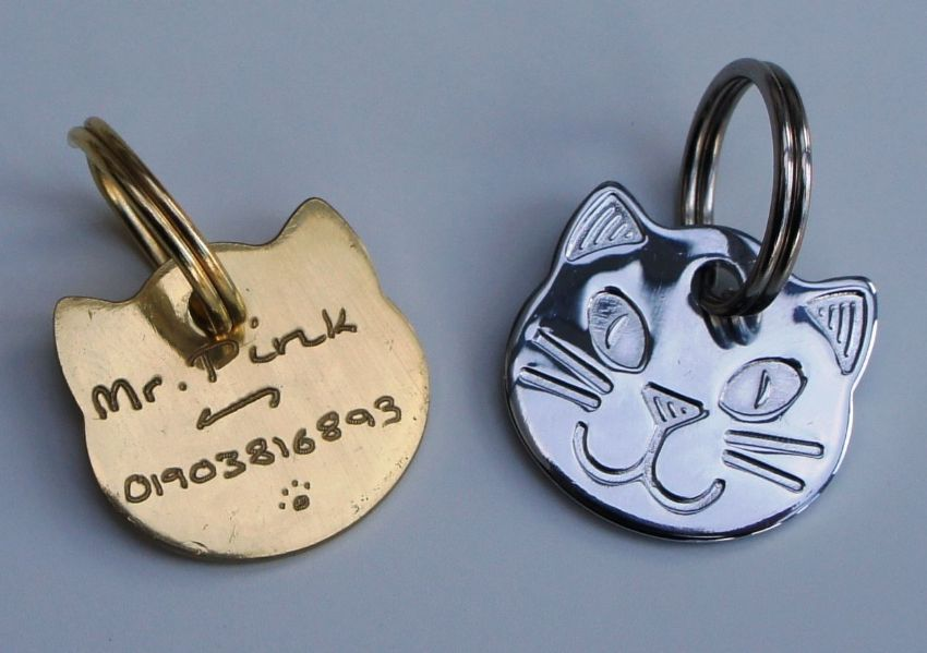 CAT ID TAG Quality Cat Face 22mm Hand Engraved ID Pet Tags Free Engraving